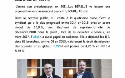 Nouveau Secrétaire Général à l'UNSA