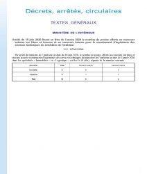 Arrêté du 18 juin 2020 fixant au titre de l'année 2020 le nombre de postes offerts au concours externe sur titres et travaux et au concours interne pour le recrutement d'ingénieurs des services techniques du ministère de l'intérieur