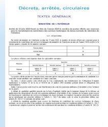 Arrêté du 23 juin 2020 fixant au titre de l'année 2020 le nombre de postes offerts aux concours pour le recrutement de contrôleurs des services techniques de classe normale du ministère de l'intérieur