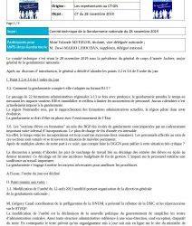 Comité technique Gendarmerie du 28 novembre 2019