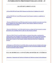 INFORMATIONS PROFESSIONNELLES COVID – 19