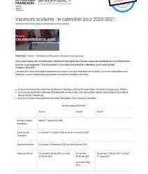 Vacances scolaires 2020-2021