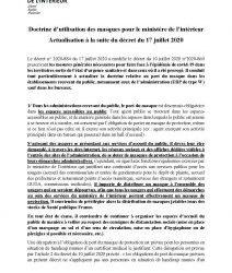 Doctrine d'utilisation des masques pour le ministère de l'intérieur Actualisation à la suite du décret du 17 juillet 2020