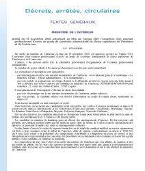 Arrêté du 19 novembre 2020 autorisant au titre de l'année 2021 l'ouverture d'un examen professionnel d'accès au grade de secrétaire administratif de classe supérieure de l'intérieur et de l'outre-mer