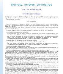 Arrêté du 9 novembre 2020 autorisant au titre de l'année 2021 l'ouverture d'un examen professionnel d'accès au grade d'attaché principal d'administration de l'Etat relevant du ministre de l'intérieur