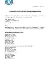 Nomination des élèves des instituts régionaux d'administration – JO du 1er novembre 2020