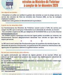 Nouvelle procédure de gestion des retraites au Ministère de l'Intérieur à compter du 1er décembre 2020