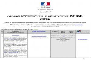 CALENDRIER PRÉVISIONNEL DES EXAMENS ET CONCOURS INTERNES 2021/2022