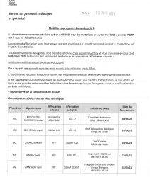 Mobilité catégorie B au 1er avril 2021