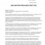 24 juin 2021 – Déclaration préalable CHSCT CRS