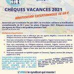 Chèques vacances 2021. Bonification exceptionnelle de 60€